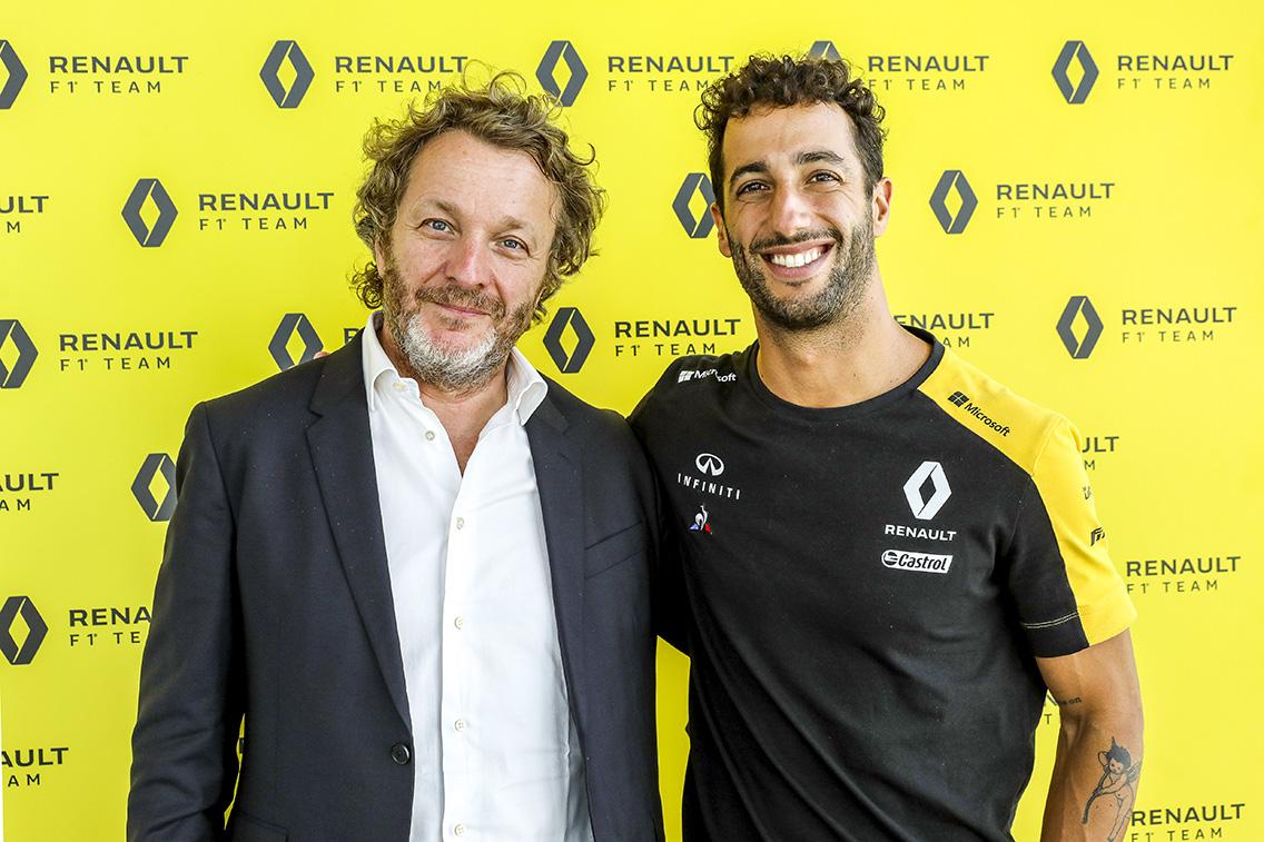 Francesco Fontana Giusti con il pilota Daniel Ricciardo